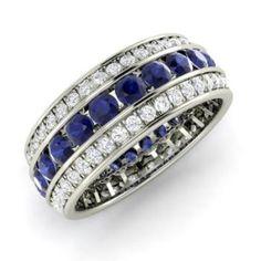 Rings - Doreen - Blue Diamond Ring in White Gold with SI Diamond ct. Sapphire Wedding, Diamond Wedding Bands, Diamond Rings, Diamond Jewelry, Wedding Rings, Diamond Gemstone, Blue Sapphire, Emerald Rings, Ruby Wedding