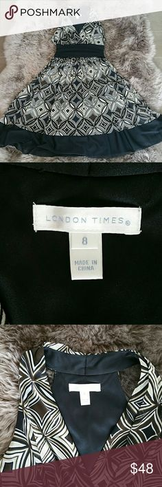 London Times Dress sz 8 Great condition! London Times Dress. Sz 8.  Rusched black waistband.  Very flattering fit.  Princess collar.  Sexy back.  Ruffled skirt with a little swing.  Fully lined in black stretch knit.  Fabric has a geo pattern with retro colors in black, brown, taupe and white. Black band at skirt bottom creates a great finished look.   EUC. No snags, rips, holes, stains, discoloration. No signs of wear! London Times Dresses Midi