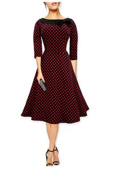 Black Long Sleeve Polka Dot Vintage Dress with Bow