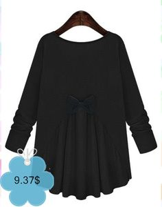 Trendy Bowknot Embellished Scoop Neck Long Sleeves T-Shirt For Women