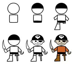 How to draw cartoon pirates by Martin Berube.  Simple enough for kids to do. His website has a lot of tutorials on how to draw funny cartoons.