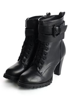 Zip Lace Up Heel Boots in Black