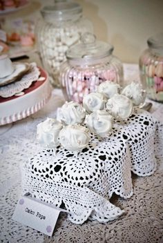 Cake pops display idea with crocheted doiley