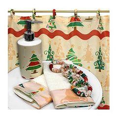 The Holiday Aisle O' Christmas Tree Resin Shower Curtain Set Christmas Bathroom Decor, Christmas Shower Curtains, Shower Curtain Hooks, Fabric Shower Curtains, New Toilet, Red Christmas, Christmas Ideas, Christmas Decorations, Inspired Homes