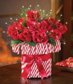 Fiber Optic Candy Cane Roses Bouquet Holiday Centerpiece FROM COLLECTIONS ETC.  AWESOME PRICES!    idea