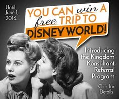 Win a FREE trip to Walt Disney World!!! Contact us at vacations@kingdomkomsultant.com for more details.