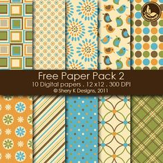 Free Scrapbooking Printable 6 Digital Papers 12x12 300 DPI