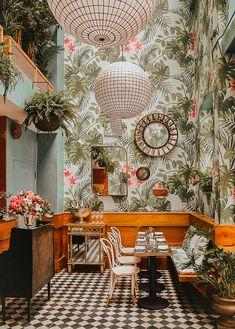 Tropical Home Design Ideas Unusual Tropical Interior Design 0 On Home Ideas Design Ideas With Sf Restaurants, San Francisco Restaurants, Rustic Restaurant, Restaurant Interior Design, Design Scandinavian, San Francisco Bars, Rustic Vintage Decor, Tropical Interior, Cafe Wall