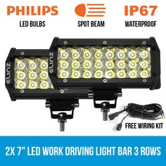 This new driving worklight is perfect for any vehicle, with spot beams. With 3 rows of of Philips bulbs, its the best tool for offroad activities. Led Work Light, Led Light Bars, Work Lights, Waterproof Led Lights, Bar Led, Solar String Lights, Led Christmas Lights, Bar Lighting, Lamp Light