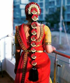 South Indian Wedding Hairstyles, Bridal Hairstyle Indian Wedding, Indian Bridal Makeup, Indian Hairstyles, Bride Hairstyles, Bridal Braids, Bridal Hairdo, Wedding Saree Collection, Bridal Collection