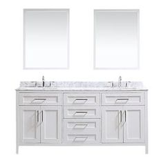 Ove Decors Tahoe White 72-In Undermount Double Sink Birch Bathroom Vanity With Natural Marble Top Mirror Included Tahoe-