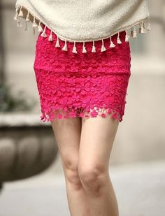 Red High Waisted Lace Mini Dress Red http://www.lilysilk.com/Terse-Silk-Pillowcase-26-p/Silvergray