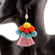 Items similar to Colorful cotton ball pink tassel drop earrings for women handmade statement gold color brand dangle earrings jewel on Etsy Tassel Drop Earrings, Women's Earrings, Night Out, Tassels, Cotton Fabric, Dangles, Colorful, Jewels, Engagement