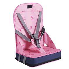 Pliant siège rehausseur Coussin de Chaise haute pour bébé avec harnais 5 points sécurité en tissu de fibre ,nylon et éponge (Rose )