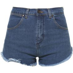 Zara Denim Jacket ($20) ❤ liked on Polyvore featuring shorts, bottoms, pants, short, blue, short shorts, blue short shorts, blue shorts and zara shorts