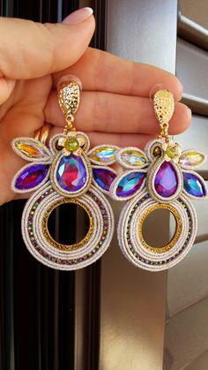Anna's Creativity Soutache Nail Jewelry, Boho Jewelry, Beaded Jewelry, Jewelry Accessories, Soutache Necklace, Bead Earrings, Tassel Earrings, Earring Trends, Arte Popular