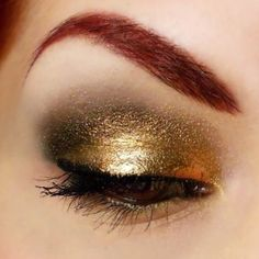 """Magnificent and mesmerizing """"Liquid Gold"""" look by Cheerio featuring Sugarpill Goldilux and Love+ eyeshadows. This is so gorgeous, we can't stop staring at it!"""