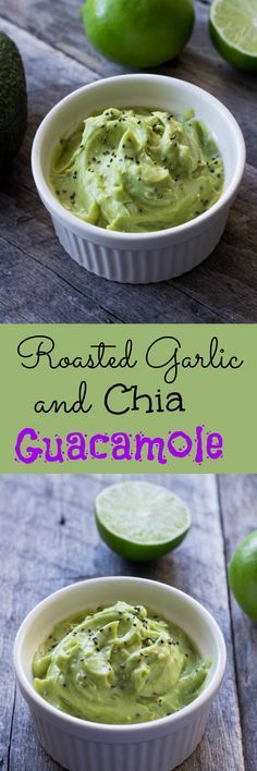 Guacamole recipe with roasted garlic and chia seeds. It's a great dip for chips and sliced veggies. The best guacamole you'll ever taste!