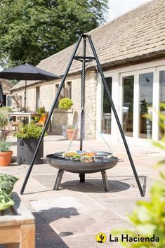 La Hacienda Tripod with adjustable hanging grill BBQ Barbecue Grill Barbecue Grill, Grilling, Outdoor Fire, Outdoor Living, Outdoor Decor, Fire Pit Cooking, Cooking Grill, Outdoor Shelters, Steel Fire Pit