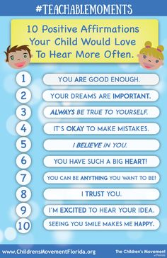 10 Positive Affirmations Your Child Would Love to Hear More Often