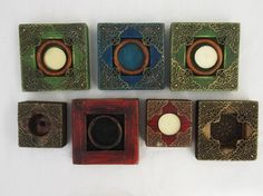 Seven Rustic Wooden Tealight Candle Holders by RegalosRusticos