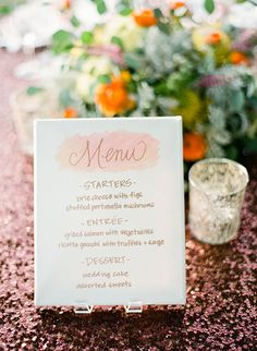Adorable calligraphy wedding menu | Brides.com
