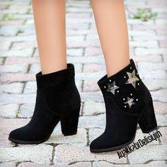 Vaçini Süet Siyah Kısa Topuklu Yıldızlı Western Bot #bootie #boots #moda #trend #fashion