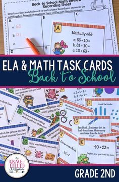 These Back to School task cards are a fun and engaging way for your new 2nd grade students to review 1st grade skills! There are 24 Math task cards and 24 ELA task cards that review 1st grade Common Core Standards.