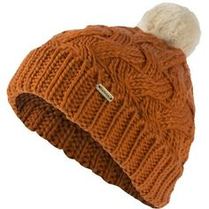 Women's Barbour Fur Pom Beanie - Dusty Orange ($33) ❤ liked on Polyvore featuring accessories, hats, head, cable knit beanie hat, barbour hat, fur pom pom beanie, orange beanie hat and pom beanie