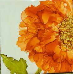 Sunset Orange alcohol ink flower on tile