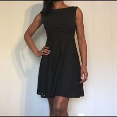 LOFT Black Eyelet Dress LOFT black eyelet dress. Perfect for work, baby showers and work! Great length and not too fitted. Super cute details on the back a keyhole  button and a ribbon on the zipper.  LOFT Dresses