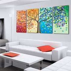 4 Piece Hand Painted The Season Tree Oil Painting Colorful Wall Art Canvas Picture Modern Abstract Home Decor Living Room Set