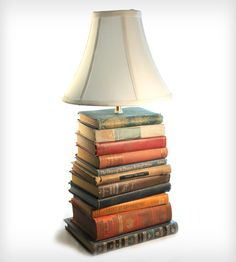 Vintage book upcycled lamp