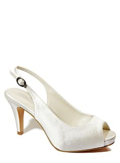 4ea4189440cf Ivory Wedding Collection Wide Fit Satin Platform Peep Toe Slingback Shoe  Wide Fit Wedding Shoes