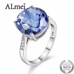 79.66$  Buy here - Almei Tested 7 CARAT Tanzanite Topaz 925 Sterling Silver Diamond Hola Jewelry Blue Gemstone Wedding Ring Women with Box 40%FJ011   #SHOPPING
