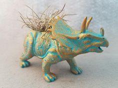 #EndHateosaurus https://www.etsy.com/shop/EndHateosaurus  Gold Turquoise Toy Dinosaur Planter