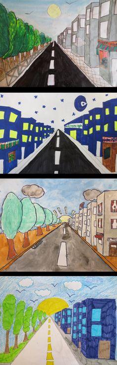 Dibujos en perspectiva realizados por alumnos en 6º de EP. Colegio Alameda de Osuna.