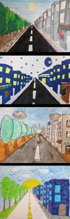 Dibujos en perspectiva realizados por alumnos en 6º de EP. Colegio Alameda de Osuna. Kids Art Galleries, 5th Grade Art, Painting Activities, First Art, Elements Of Art, Science Art, Art Club, Teaching Art, Elementary Art