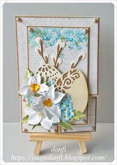 Pasje danfi: Wielkanocna kartka typu Dutch Fold Cards Card Making Inspiration, Folded Cards, Decorative Plates, Scrapbooking, Frame, Holiday, Diy, Dutch, Spring