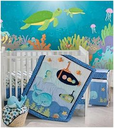 Your little guy will go on many a sea adventure amidst a delightful combination of blues and greens making the Blue Lagoon 8 Piece Crib Bedding Set an absolute delight to the eyes. The Blue Lagoon 8 Piece Bedding Set includes a quilt, dust ruffle, fitted sheet, diaper stacker, valance and 3 piece fabric wall art. The quilt, with its many colors and array of fish and submarines, The sea horse and clam wall hangings, whale wall hanging,