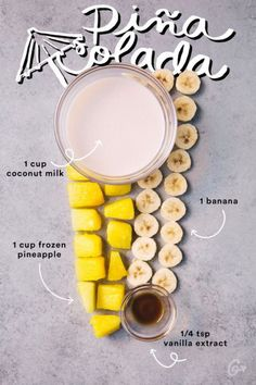 Smoothie Recipes Pina Colada Smoothie - You're a smooth-ie operator. Yummy Drinks, Healthy Drinks, Healthy Snacks, Healthy Eating, Yummy Food, Tasty, Healthy Recipes, Refreshing Drinks, Nutrition Drinks