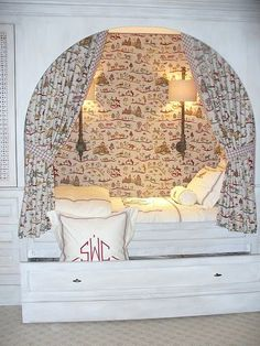 Built-in bed; nook idea Built-in bed; Alcove Bed, Bed Nook, Cozy Nook, Cozy Bed, My New Room, My Room, Kids Bedroom, Bedroom Decor, Bedroom Nook