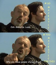 Richard Armitage as Sir Guy of Gisborne and Keith Allen as Sheriff of Nottingham in Robin Hood Robin Hood Bbc, Sherwood Forest, King Richard, Face Forward, Richard Armitage, Period Dramas, Superwholock, The Hobbit, I Laughed