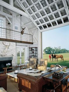 Grandpas place in the barn. Not so white. More rustic. I like the door idea and the open floor plan.
