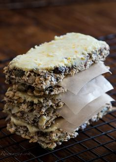 Cinnamon Orange Energy Bars with Orange White Cacao Frosting