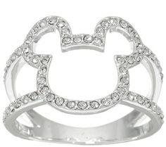 Disney Crystal Open Mickey Design Ring
