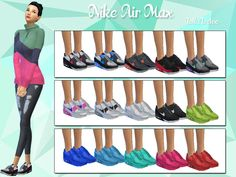"""sssvitlans: """" Created By Lollaleeloo Nike Air Max by LollaLeeloo Created for: The Sims 4 Nike Air Max are THE sneakers to have this season. White, pink or colorful, doesn't matter, as long as you pair them with a cute casual outfit, be it a pair of..."""