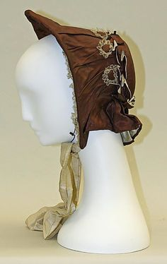 Bonnet 1855-65 American, silk  Metropolitan Museum Collection