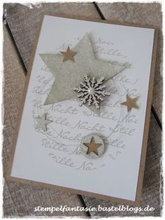 Christmas card in natural tones and glitter - Stampin'Up! Cas Christmas Cards, Christmas Card Crafts, Stampin Up Christmas, Noel Christmas, Holiday Cards, Christmas Glitter, Scrapbook Cards, Scrapbooking, Xmas Theme