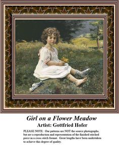 Girl on a Flower Meadow, Fine Art Counted Cross Stitch Pattern also available in Kit and Digital Download #pinterestcrossstitchpattern #pinterestgifts